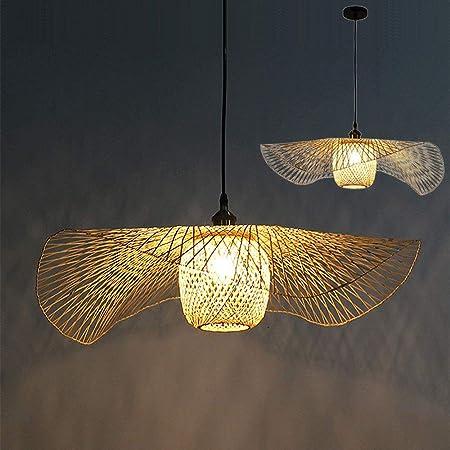Rétro Bambou Tissé Suspension Lampe Pays Suspension Réglable En Hauteur E27 Couloir Éclairage Suspension Lampe Suspension Bambou Naturel Et Rotin Salon Chambre Lustre,55cm