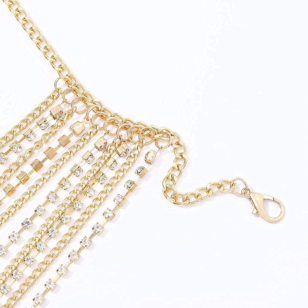 Victray Crystal Belly Waist Chain Beach Layered Body Chains Fashion Waist Jewelry Nightclub Body Accessory for Women and Girls (Gold)