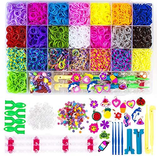 WONDERFORU Juego de bandas de telar, 6800+ Rainbow Loom Bandas de goma y telar Twist Bands Kit con ganchos y clips en S, kit de fabricación de pulseras de amistad, telar para niños y niñas