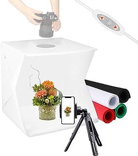 Meking 40,6 x 40,6 cm Foto Lichtbox, tragbares Studiozelt, Beleuchtungs Set für Fotoautomaten, Produktaufnahmen, mit Handy Stativ, 4 farbige Hintergründe und verstellbare Helligkeit.
