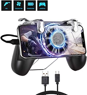 Qoosea Mobile Controller with Portable Charger Cooling Fan and Built-in 4400mAh Battery Power Bank L1R1 Game Trigger Joystick Gamepad for PUBG/Knives Out/Free Fire for 4.7-6.5'' Android iOS Phone