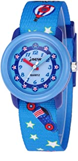 GOLDEN HOUR Time Teachers Analog Nylon Fabric Slip-Thru Strap Waterproof Watches for Girls and Boys, Student, Teenagers