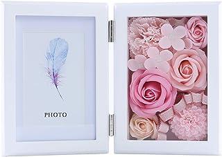WEISHY ソープフラワー 写真立て 木製 フラワー フォトフレーム 誕生日 プレゼント 女性 母の日 ギフト 結婚祝い バレンタイン ホワイトデー お返し 敬老の日 記念日 お祝い 枯れない花 ボックス 写真入り 造花 フラワーアレンジメント (ピンク)