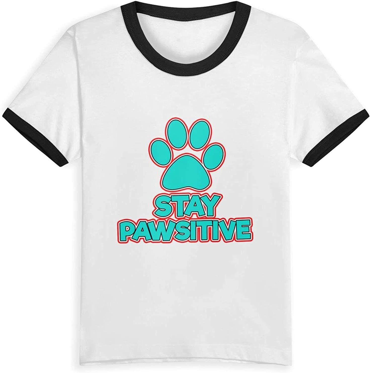 Stay Pawsitive Paws Dog T-Shirts Novelty for Kids Tees with Cool Designs