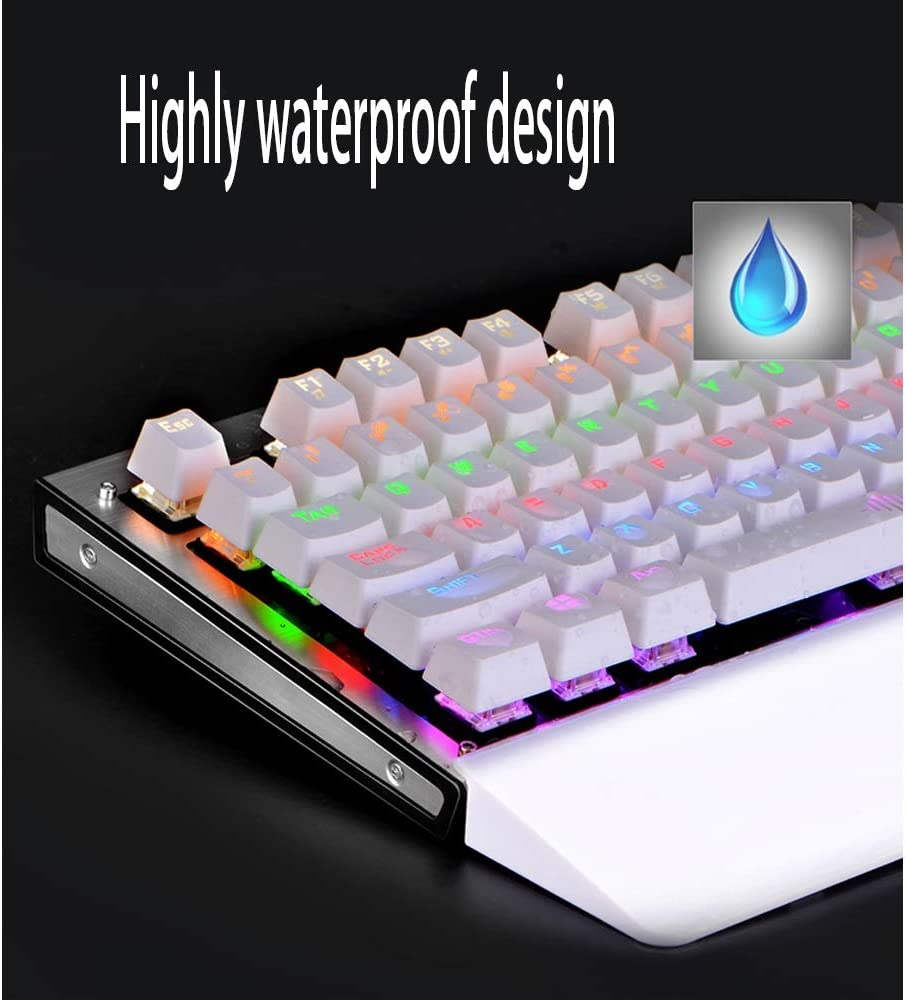 Green Axis Office Eat Chicken Multicolor Backlight Esport Keyboard // 8 Kinds of Mixed Light Mode Adjustable Mechanical Keyboard Keyboard BLWX Game Mechanical Keyboard Color : Black