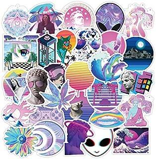 50PCS Purple Vaporwave Abstract Art Stickers Water Bottles Phone Computer Skateboard Hydroflasks Fashion American USA Styl...