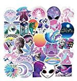 50PCS Purple Vaporwave Abstract Art Stickers Laptop Water Bottles Phone Computer Skateboard Hydroflasks USA Style Stickers Waterproof Vinyl Trendy Aesthetic Decals for Teens Boys Girls Adults