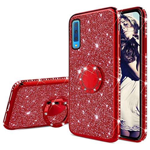 Misstars Glitzer Hülle für Galaxy A7 2018 Rot, Bling Strass Diamant Weiche TPU Silikon Handyhülle Anti-Rutsch Kratzfest Schutzhülle mit 360 Grad Ring Ständer für Samsung Galaxy A7 (2018) A750
