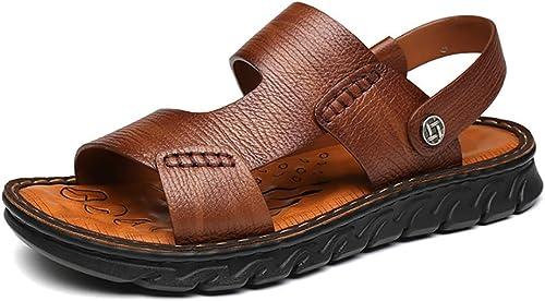 LXJL Hommes d'été en en Cuir Décontracté Chaussures Plage Chaussures en Cuir Sandales Soft Floor Massage antidérapant Pantoufles,marron,44  le réseau le plus bas