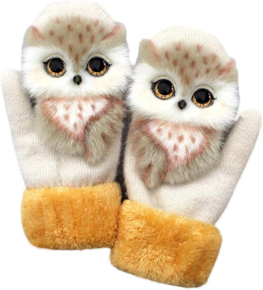 YOUAI Gloves, Women Men Winter Knitted Gloves Cute 3D Fluffy Cartoon Animal Thermal Mittens-Beige Owl