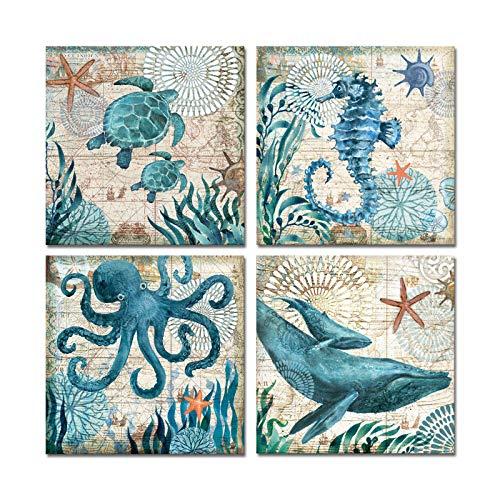 Ocean Artwork - Juego de 4 impresiones artísticas sobre lienzo para decoración del hogar, acuarela, mundo de mar, animales, tortuga,...