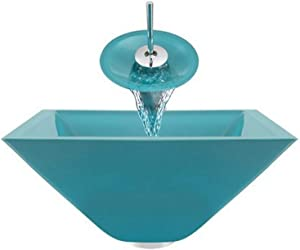 Aurora Sinks G03-Island-C-V Bathroom Ensemble with Pop Up Drain, Island Glass Vessel, Sink, Ring and Waterfall Faucet, Chrome