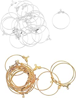 F Fityle 40 Pieces Hoop Loop Earrings Jewellery Making Findings Gold Plated for Beading Charms Dangle Pendant Earrings DIY Accessories