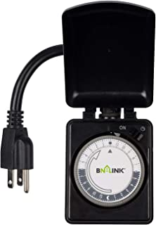BN-LINK Compact Outdoor Mechanical Timer, 24 Hour Programmable Dual Outlet Timer - Plug in, Waterproof, Heavy Duty, Accurate For Lamps Outdoor Christmas Lights 1875W 1/2HP ETL Listed
