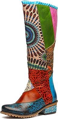 gracosy Knähöga stövlar kvinnor läder över knäet höga skor vinter snö ankelridstövlar platt cyklist blixtlåsskor bekväma mode långa stövlar bohemiskt skarvning blommönster vardaglig promenadsko