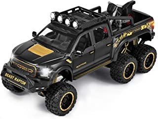F-150 Pickup Truck Toy Refitted 6x6 Off-Road Model Truck 1/24 Scale Die-Cast Metal Toy Car ( Black)