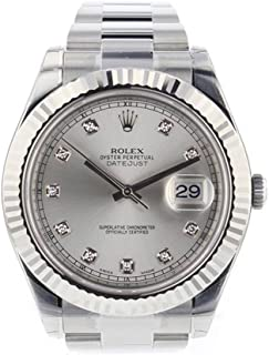 Rolex Datejust II 41mm Steel Silver Diamond Dial Mens Watch 116334