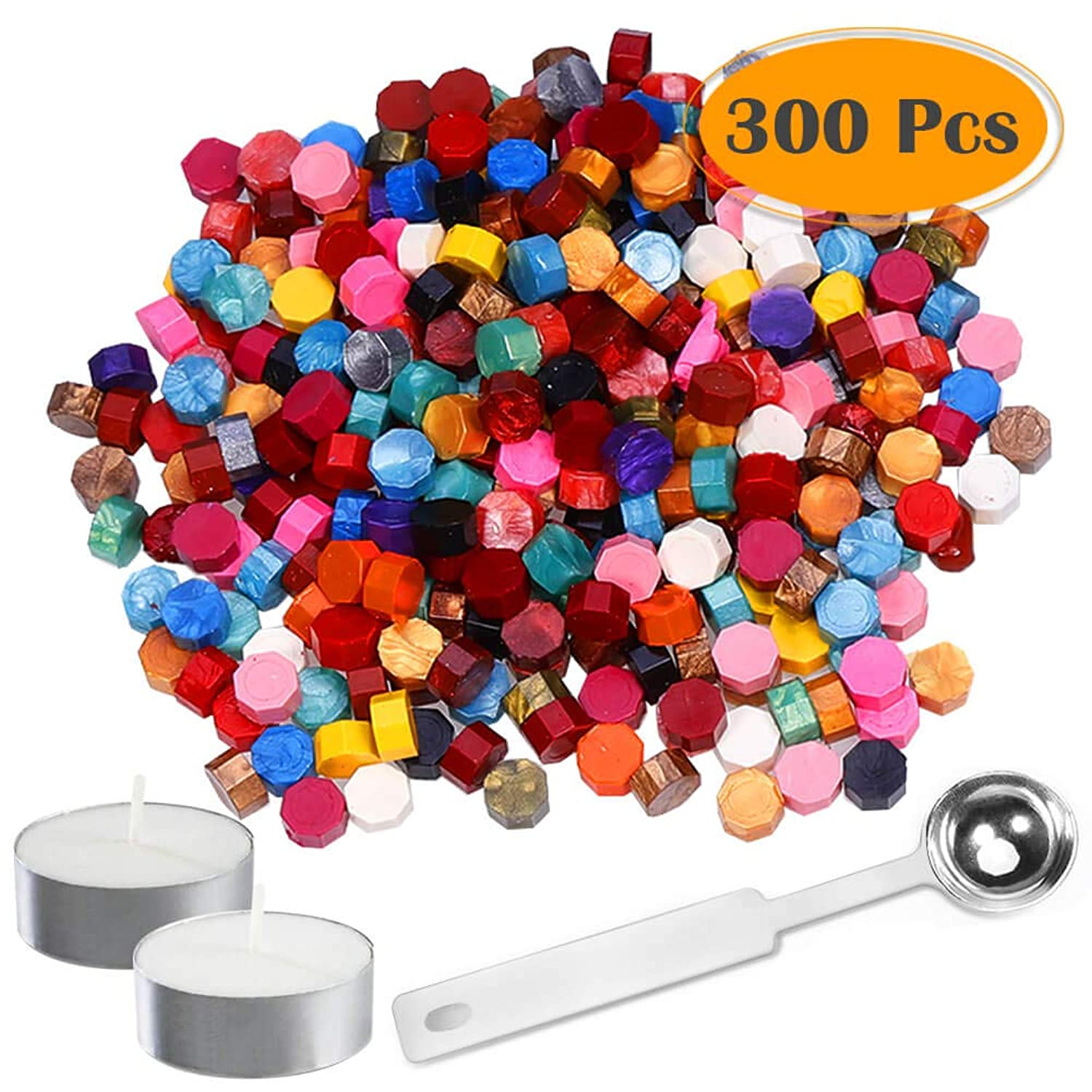 Anezus 300Pcs Octagon Sealing Wax Beads with 2Pcs Tea Candles and 1 Pcs Wax Melting Spoon for Wax Stamp Sealing (20 Colors)