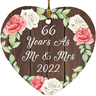 66th Anniversary 66 Years As Mr & Mrs 2022 - Heart Wood Ornament A Christmas Tree Hanging Decor - for Wife Husband GF BF W...