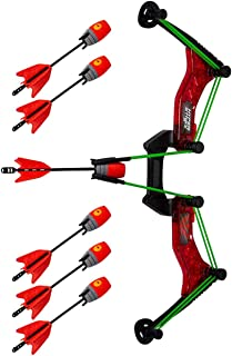 Zing Hyperstrike PowerGrip Bow with 6 Zonic Whistle Arrows, Red - 250 Feet / 75 Meters Range