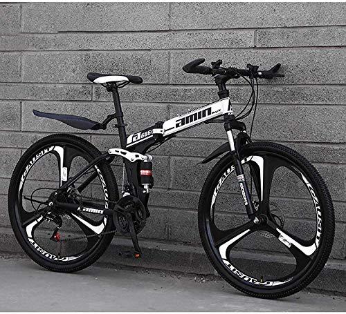 min min Bicicletas De Montaña Plegables para Adultos, Freno De Disco Doble De 26 Pulgadas Y 24 Velocidades con Suspensión Completa, Antideslizante, Marco Liviano (Color : D1) (Color : D4)