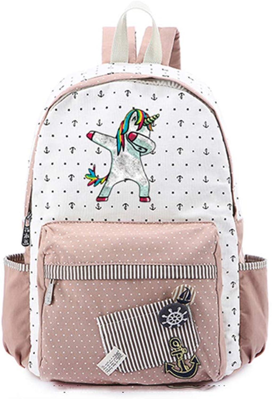 Cute Cartoon Backpack for Women Girls Canvas Bag Flowers Wave Point Rucksacks Backpack Travel Shoulder Bag 21