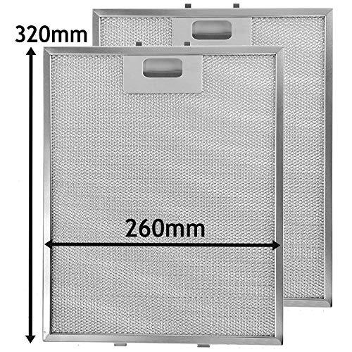 SPARES2GO Metalen gaasfilter voor Baumatic afzuigkap/afzuigkap Ventilator (320 x 260mm, 2 stuks)
