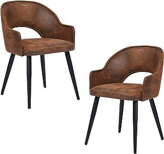 Mueble Cosy – Juego de 2 sillas de Comedor Acolchadas con Patas de Metal, marrón, 55 x 58 x 77 cm