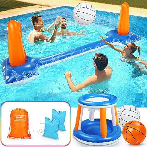 Jojoin Voleibol de Piscina de Verano, Juego de Voleibol Inflable Incluyen Redes de Voleibol y Aros de Baloncesto Apto para Niños y Adultos para Deportes Acuáticos - (115 x 38 x 28 Pulgadas)