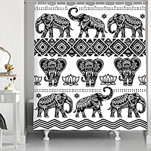 JAWO Elephant Shower Curtain, Ethnic Style Bohemian Pattern Creative Animal Black and White Bathroom Curtains, Durable Polyester Fabric 69X70 Inches