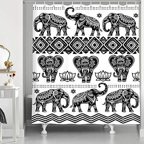 Elephant Shower Curtain, Ethnic Style Bohemian Pattern Creative Animal Black and White Bathroom Curtains, Durable Polyester Fabric 69X70 Inches