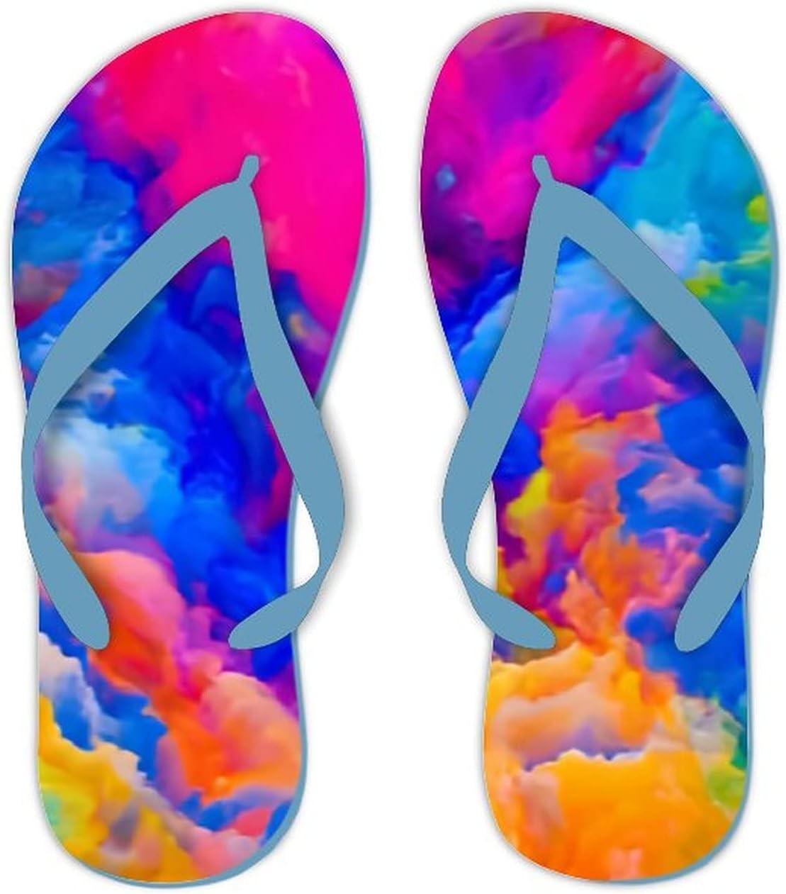 UTF4C Summer Flip Flops for Men Women Colors Imagination Series Backdrop Colorful Soft Lightweight Non Slip Sandals for Shower Beach Pool Bathroom Flat 10.5