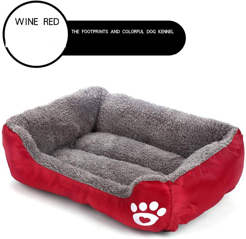 Kennel, Four Seasons Universal Dog Bed Teddy Kejibi Bear Small and Medium Dog Dog mat Winter Warm nest pet Supplies,WineRed,XL