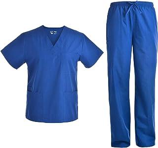 Unisex Nursing Scrubs Set - Medical Uniform Women and Men Nurse School Scrubs Set V Neck Top and Cargo Pants JY1601P