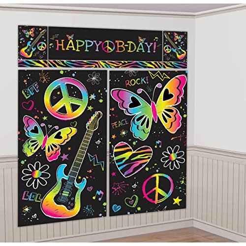 amscan Neon Birthday Party Scene Setter Wall Decorating Kit (5 Pack), 59' x 65', Multicolor