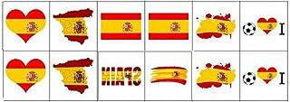 Tatuajes de la bandera nacional, Tatuajes temporales de la Copa del Mundo, Etiquetas engomadas de la bandera de Rusia 2018 para el juego de fútbol Decoración del cuerpo de la cara 12 hojas (España)