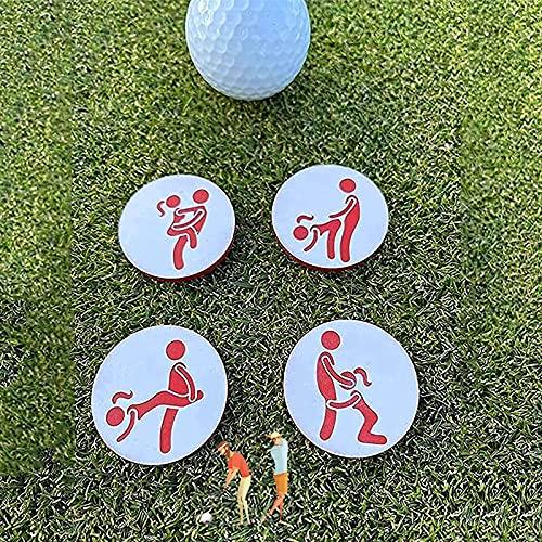Juego de 4 marcadores de pelota de golf para adultos con texto en inglés 'Creative Golf Ball Marks', accesorios de golf personalizados para los amantes del golf