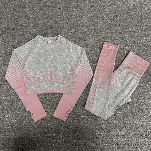 Ollt Conjunto de Yoga para Mujer sin Costuras Top de Manga Larga Control de Vientre de Cintura Alta Leggings Deportivos Ropa de Gimnasia Traje Deportivo sin Costuras L Conjunto Rosa 2 Piezas