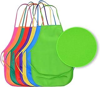 Onepine 8 Piezas 8 Colores Tela Delantales Pintura Delantales Art Smock para la Cocina, Aula, Actividad de pintura (8 PCS)
