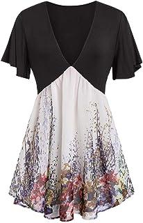 918866e105c Women's Plus Size Short Sleeve V Neck Swing Floral Flowy Tunic Tops