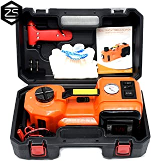 12V DC 5.0T(11023lb) Electric Hydraulic Floor Jack,Tire Inflator Pump and LED Flashlight 3 in 1 Set with Safe Hammer, Whole Set of Car Repair Tool Kit Electric Car Jack
