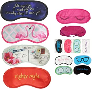 4 Pc Silk Embroidered Eye Mask Sleeping Blindfold Cover Shade Travel Rest Sleep