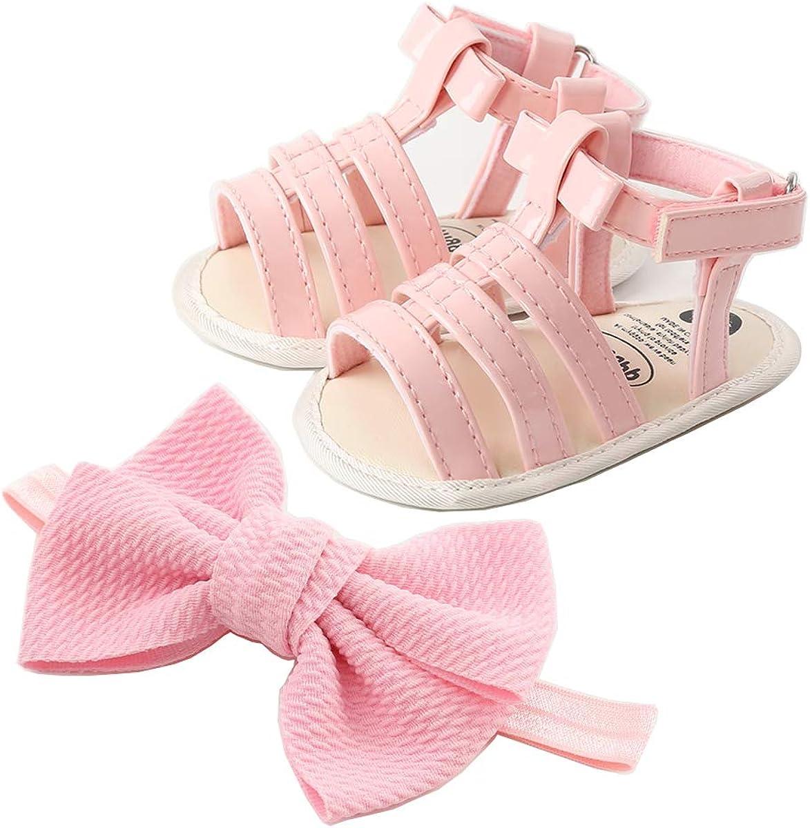 BEBARFER Infant Baby Girls Summer Sandals PU Leather Soft Anti-Slip Sole Cute Flower Toddler Crib First Walker Shoes