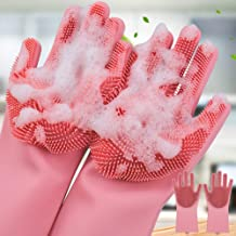 ZIXAD Magic Silicone Scrubbing DishWashing Gloves, Silicon Cleaning Gloves, Reusable Silicon Hand Gloves for Kitchen Dishwashing and Pet Grooming, Car, Bathroom | Multicolor - 1 Pair