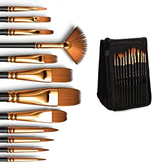 Professional Artist Paint Brushes set with Case, Nylon Hair Painting Brush Great for Acrylic, Face, Nail Art, Body Art, Mi...
