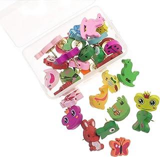 Chris.W 30Pcs Adorable Animal Thumbtacks Colorful Decorative Pushpins for Home, Office Cork Board, Plasterboard, Photo Wal...