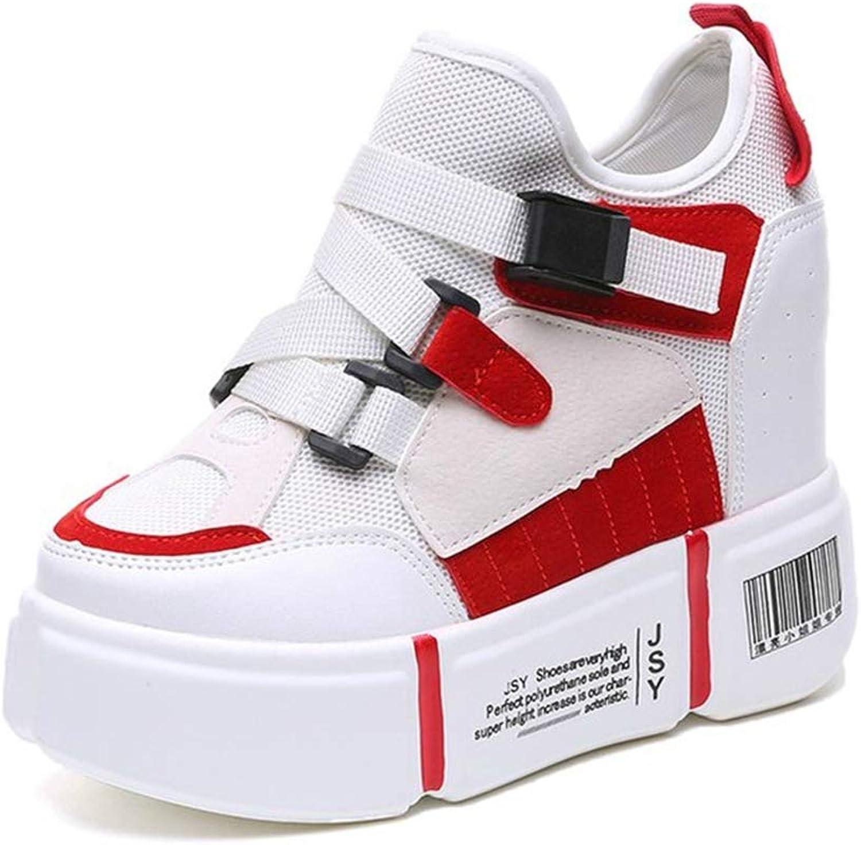 Women White Platform Wedge Ladies Chunky Sneakers Buckle Strap Female Height Increasing Hidden Heels shoes