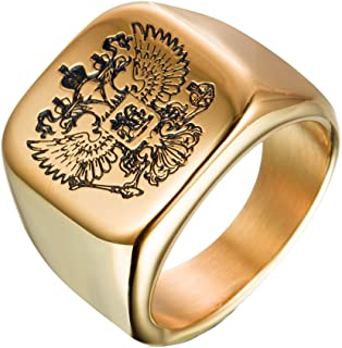 Stainless Steel Jewelry JEWURA Biker Ring The Russian Eagle White Signet