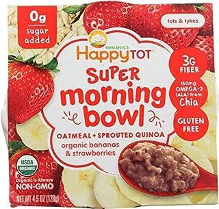 Happy Tot, Super Morning Oatmeal Bowl Bananas Strawberries Organic, 4.5 Ounce