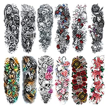 """Full Arm Temporary Tattoo For Man Women L19""""xW7"""" 12 Sheets"""